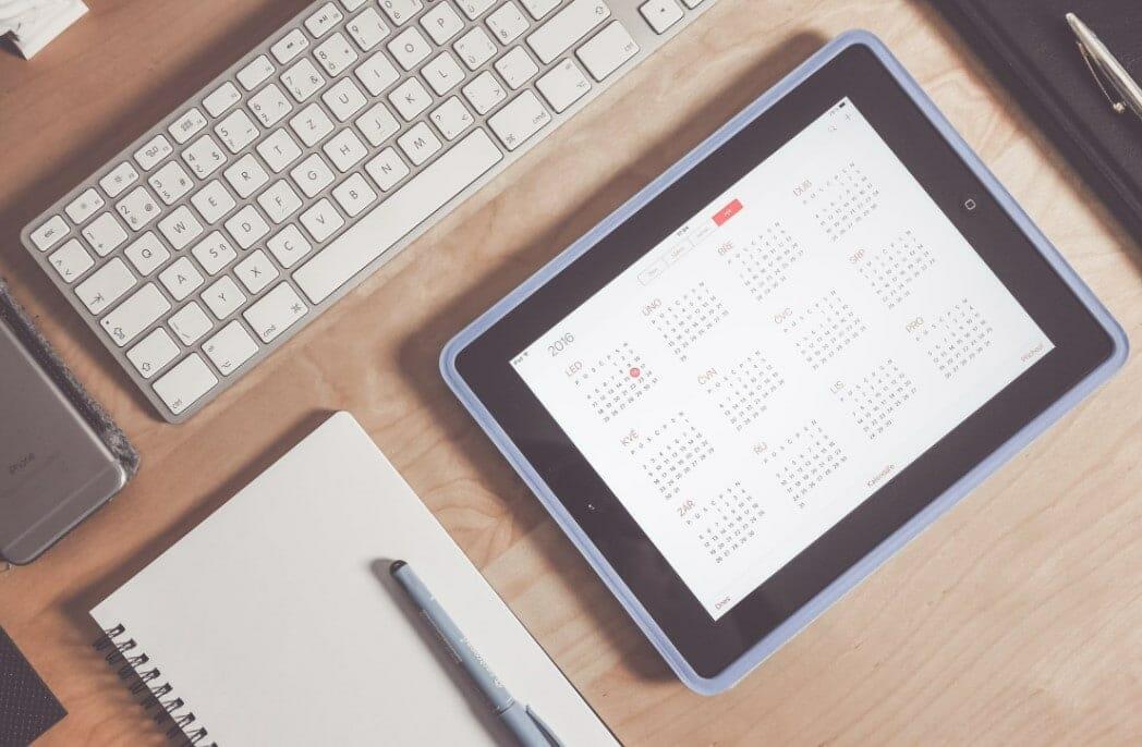 calendar on a tablet