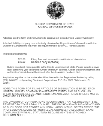 FLORIDA DEPARTMENT OF STATEDIVISION OF CORPORATIONS FORM