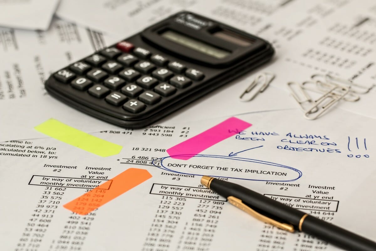 calculator and tax notice